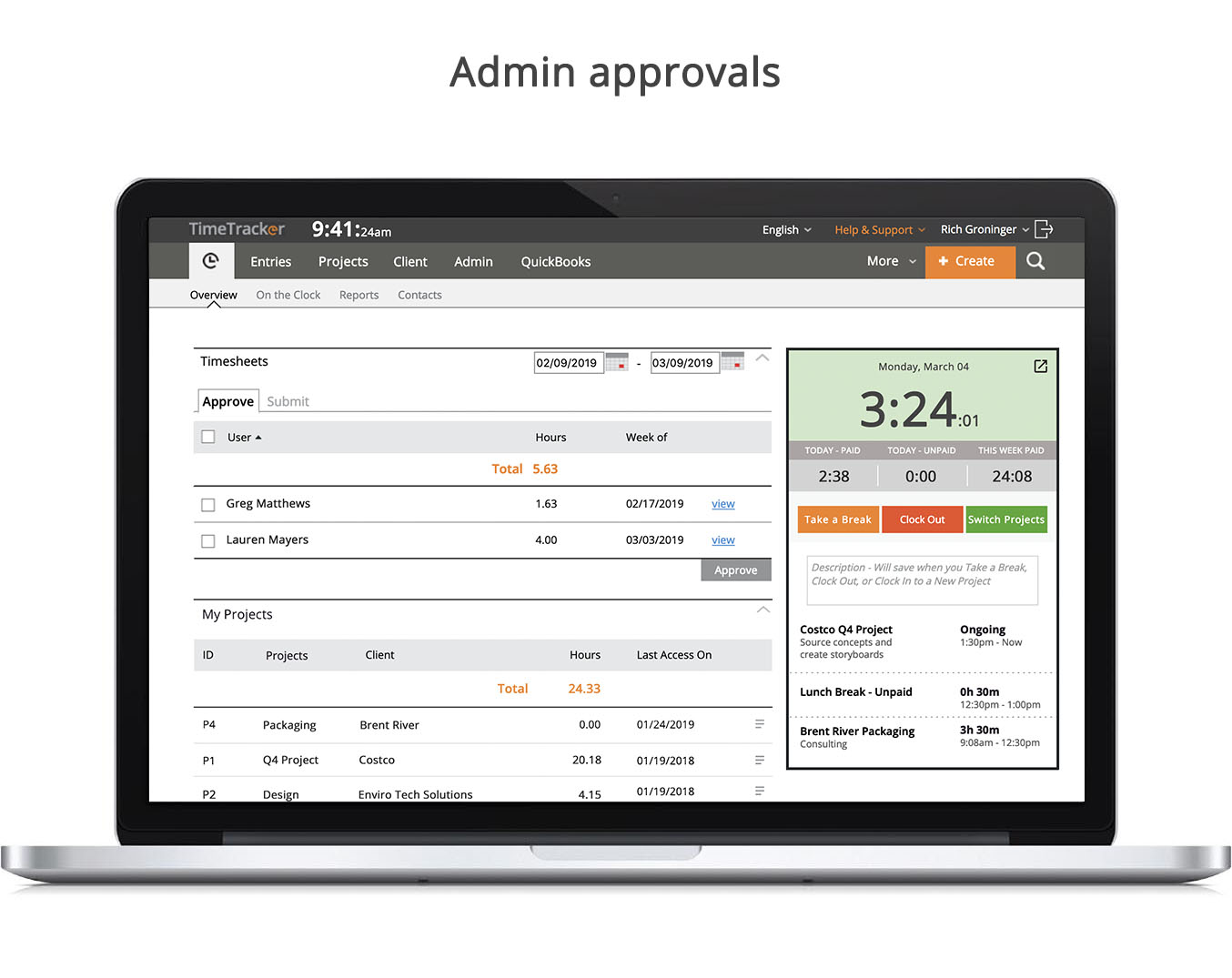 Admin approvals
